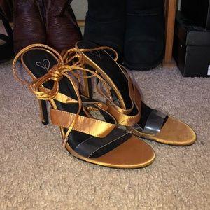Mustard clear strap heels